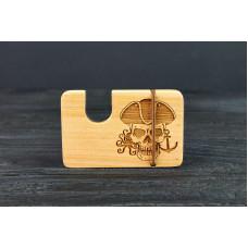 """Картхолдер для банківських карт і купюр """"Череп"""" з натурального дерева"""