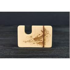 """Картхолдер для банківських карт і купюр """"Риби"""" з натурального дерева"""