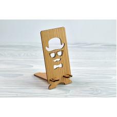 """Підставка для телефону """"Чоловік у капелюсі"""" з натурального дерева"""