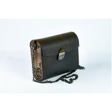 Шкіряна сумка чорна з дерев'яними вставками шкіра crazy horse чорна фурнітура