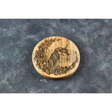 Гребінь круглий для бороди Єдиноріг з натурального дерева в холдере