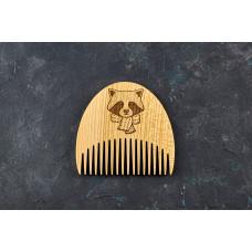 """Гребінь для бороди """"Єнот"""" з натурального дерева"""