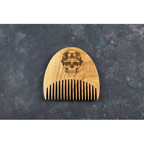 """Гребінь для бороди """"Череп"""" з натурального дерева"""