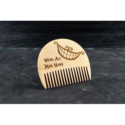 """Гребінь для бороди """"Чеширський"""" кіт з натурального дерева"""