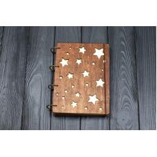 """Блокнот А5 """"зірки"""" з фанери на кільцях. Записна книжка. Альбом для малювання. Щоденник."""