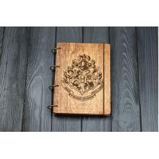 """Блокнот А5 """"Герб Гарри Потера"""" з фанери на кільцях. Записна книжка. Альбом для малювання. Щоденник."""