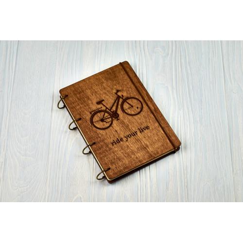 """Блокнот А5 """"Велосипед"""" з фанери на кільцях. Записна книжка. Альбом для малювання. Щоденник."""