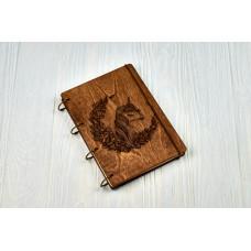 """Блокнот А5 """"єдиноріг"""" з фанери на кільцях. Записна книжка. Альбом для малювання. Щоденник."""