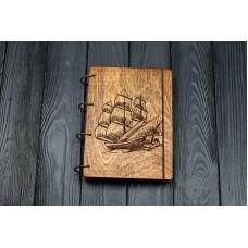"""Блокнот А5 """"Кораблик"""" з фанери на кільцях. Записна книжка. Альбом для малювання. Щоденник."""