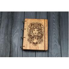 """Блокнот А5 """"Амазонка"""" з фанери на кільцях. Записна книжка. Альбом для малювання. Щоденник."""