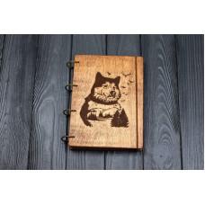 """Блокнот А5 """"Вовк і ліс"""" з фанери на кільцях. Записна книжка. Альбом для малювання. Щоденник."""