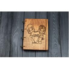 """Блокнот А5 """"Love"""" з фанери на кільцях. Записна книжка. Альбом для малювання. Щоденник."""