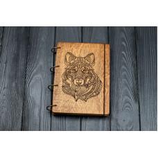 """Блокнот А5 """"Вовк стиль мехенди"""" з фанери на кільцях. Записна книжка. Альбом для малювання. Щоденник."""