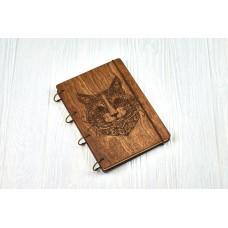 """Блокнот А5 """"Кот стиль михенди"""" з фанери на кільцях. Записна книжка. Альбом для малювання. Щоденник."""