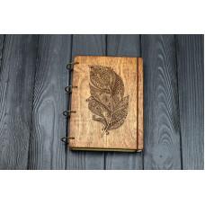 """Блокнот А5 """"Перо"""" з фанери на кільцях. Записна книжка. Альбом для малювання. Щоденник."""