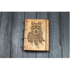 """Блокнот А5 """"Волк талисман"""" з фанери на кільцях. Записна книжка. Альбом для малювання. Щоденник."""