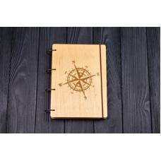 """Блокнот А5 """"Роза ветров"""" з фанери на кільцях. Записна книжка. Альбом для малювання. Щоденник."""