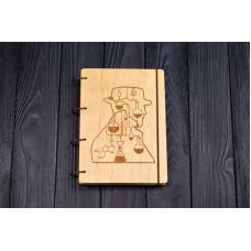 """Блокнот А5 """"У всі тяжкі"""" з фанери на кільцях. Записна книжка. Альбом для малювання. Щоденник."""