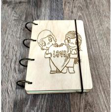"""Блокнот А5 """"Сердце прорезь"""" з фанери на кільцях. Записна книжка. Альбом для малювання. Щоденник."""