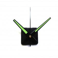 Настінний годинниковий механізм без вушка зі стрілками  які світяться у темряві зеленого кольору маленький
