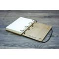 """Блокнот А6 """"Перо"""" з натурального дерева на кільцях. Записна книжка. Альбом для малювання. Щоденник."""