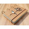 """Блокнот А6 """"Роза"""" з натурального дерева на кільцях. Записна книжка. Альбом для малювання. Щоденник."""