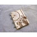 """Блокнот А6 """"Ловець снів"""" з фанери на кільцях. Записна книжка. Альбом для малювання. Щоденник."""