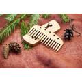 """Гребінь з натурального дерева """"Ключ"""" в холдері для бороди та волосся"""